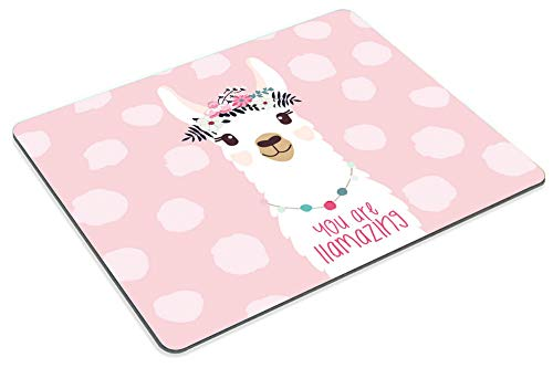 Smooffly Funny Quote Mouse Pad Cute Llama Design Mousepad Non-Slip Rubber Gaming Mouse Pad Rectangle Mouse Pads for Computers Laptop - You are llamazing Photo #2