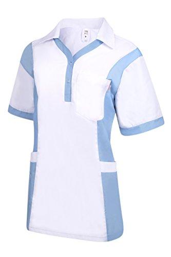 Clinotest Damenkasack Julia, Gesundheitswesen, für die Pflege, Berufsbekleidung, in Trendfarben (M, weiß/sky)