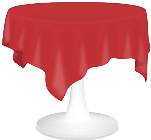 Red Plastic Tablecloths 3 Pack Disposable Table Covers 84 Inch Circle Shower Party Tablecovers PEVA Vinyl Table Cloths for Round Tables up to 6 ft and Picnic BBQ Birthday Wedding Catering Banquet