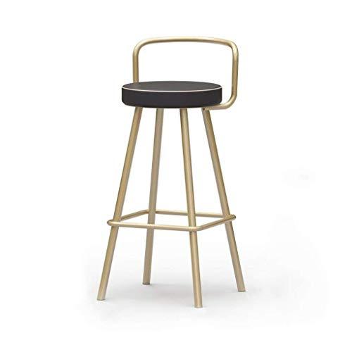 Silla de comedor para restaurante, respaldo de hierro Art Bar, taburete, recepción, caja registradora, silla, tienda de ropa, tienda de té, silla decorativa, 50-80 cm (color: dorado, tamaño: 80 cm)