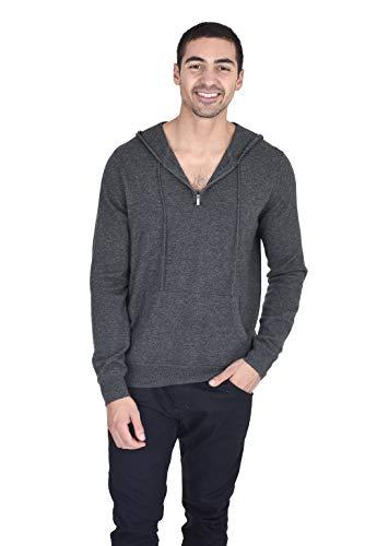 State Fusio Men's Quarter Zip Up Hoodie Cashmere Merino Wool Lightweight Hooded Sweatshirt Pullover (Medium, Charcoal)