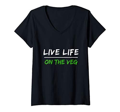 Womens Vegan Shirt | Live Life On The Veg | Men Women V-Neck T-Shirt