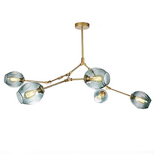 CCSUN Nordic Bola De Cristal Sputnik Lámpara De Araña, Antiguo Rama Lámpara De Colgante Mundo Ajustable Soplado A Mano Vidrio Pantalla De Lámpara E26 Hierro Forjado Antiguo Lámpara De Araña
