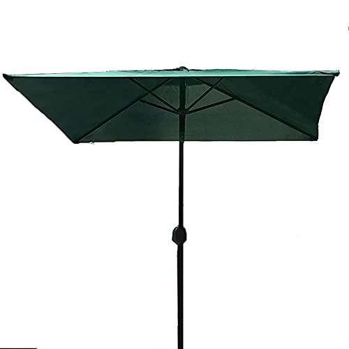 Lqdp Sombrilla Sombrilla de Patio de Estilo nórdico, sombrilla de jardín de protección Solar de 2.0 m con manivela y 6 Varillas, sombrilla para jardín Junto a la Piscina (Color : Green)