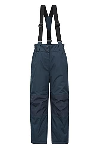 Mountain Warehouse Pantalon de Ski Enfants Honey - résistant à la Neige, guêtres Pare-Neige, Ouverture zippée Cheville, Bretelles Amovibles - Idéal pour Skier, Hiver Bleu Foncé 9-10 Ans