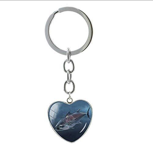 Sleutelhanger kunst beeld glas cabochon sleutelhangers zoutwater vis hart charme sleutelgesp