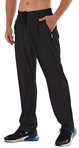 AIRIKE Men's Elastic Waist Hiking Pants Water Resistant Quick-Dry Lightweight Outdoor Sweatpants with Zipper Pockets Black