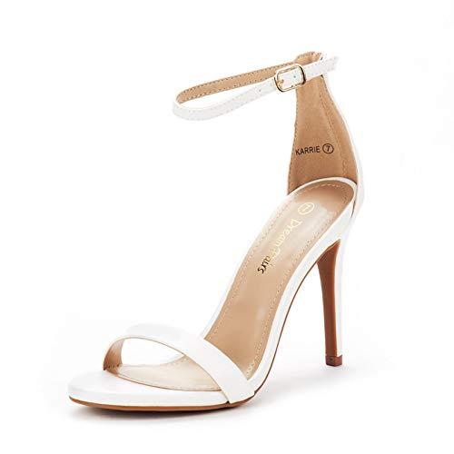 DREAM PAIRS Women's Karrie White Pu High Stiletto Pump Heeled Sandals Size 7 B(M) US
