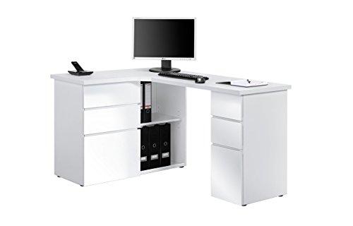 lisel-de Schreibtisch Computertisch Maja in verschiedenen Dekoren (ICY Weiß - Weiß Hochglanz)
