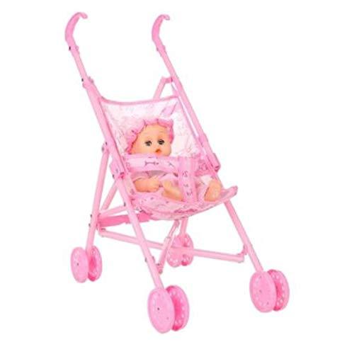 QiKun-Home Carro de Cochecito de muñeca Infantil Duradero Plegable con muñeca para muñeca de 12 Pulgadas Mini Cochecito Juguetes Regalo Rosa