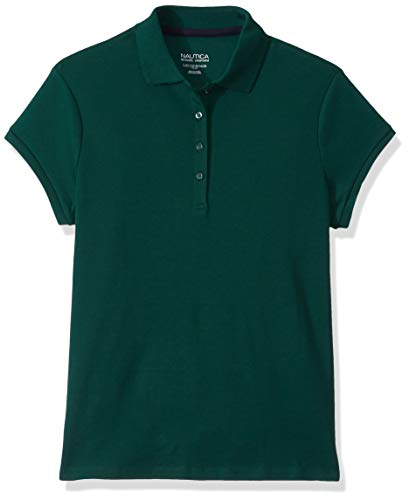 Nautica Girls' Short Sleeve Polo, Forest Green, Small (7)