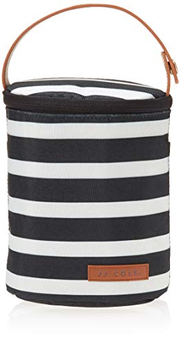 JJ Cole - Bottle Cooler, Insulated Interior for 2 Large Bottles or Sippy Cups, Included Freezer Pack, Exterior Pocket, & Easy Attach Handle, Black & White Stripe