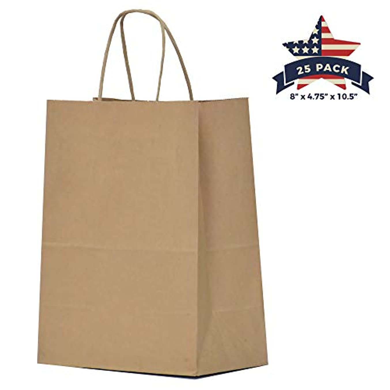 Kraft Paper Gift Bags with Handles - 25 Pcs 8x4.75x10.5 inches Brown Shopping Bags, Party Bags, Goody Bags, Cub, Favor Bags, Business Bags, Kraft Bags, Retail Bags