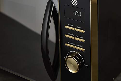31cj4P2KomL - Swan Gatsby Black and Gold 800W Digital Microwave, 23 Litre, Digital Display, Variable Power Settings, Auto Cook Menu…