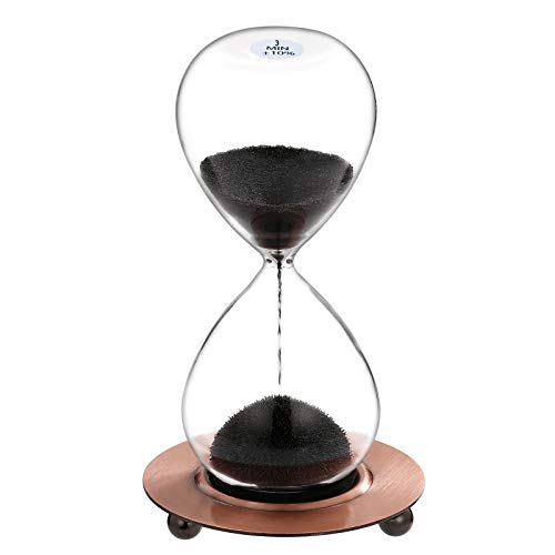 SuLiao Magnetic Hourglass 3 Minute Sand Timer: Large Sand Clock One Minute with Black Magnet Iron Powder & Metal Base, Sand Watch 3 Min, Hand-Blown Hour Glass Sandglass for Office Desk Home Decor