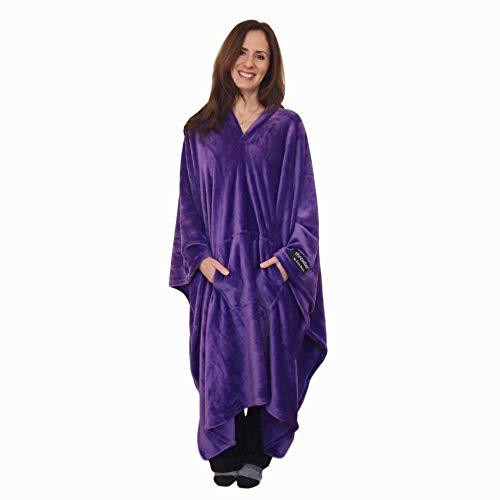 throwbee Original BlanketPoncho Purple Yay NO Sleeves Best Wearable Blanket on The Planet Soft Throw Indoors or Outdoors  Adults Men Women Kids