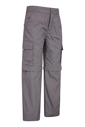 Mountain Warehouse Active Kids Convertible Trousers -Shrink & Fade Resistant Childrens Trousers, Fast Dry Trousers, Zip Off Casual Bottoms - for Camping, Travelling Dark Grey 9-10 Years