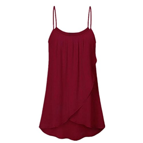 Camisola Playa Tallas Grandes Mujer, Camiseta Moda para Mujer Tallas Grandes Casual Solid Gasa sin Mangas Flowy Tank Tops Camis(5XL,Vino)