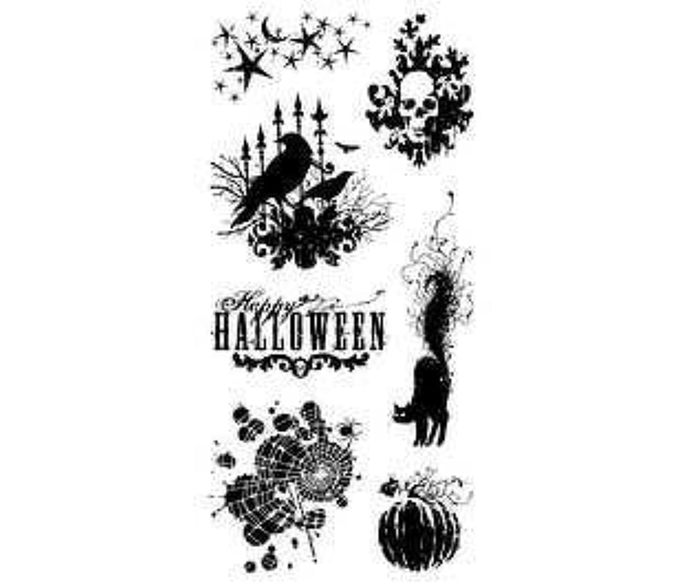 Inkadinkado Clear Seasonal Halloween Stamps 4-Inch by 8-Inch Sheet, Scary Night