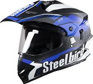 Steelbird SB-42 Airborne Glossy Black with Blue with Plain Visor with P.Cap,600 mm