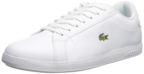 Lacoste Women's Graduate Sneaker, White/White Leather, 7 Medium US