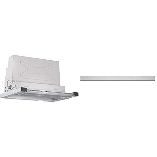 Bosch DFR067T50 Serie 6 Flachschirmhaube/B / 60 cm/Edelstahl/wahlweise Umluft- oder Abluftbetrieb/Kurzhubtasten & DSZ4655 Zubehör für Dunstabzüge / 60 cm breite Flachschirmhauben/Edelstahl