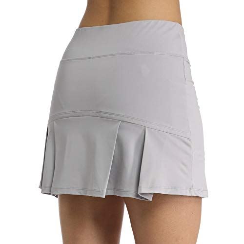 Ultrafun Women's Active Tennis Golf Skort Pleated Athletic Sports Running Skirt with Pockets and Shorts (Grey,...