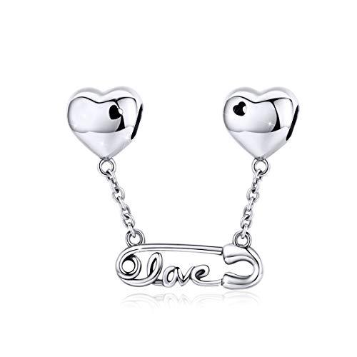 Abalorio de cadena de seguridad de plata de ley 925 compatible con pulseras Pandora, letras de amor corazón