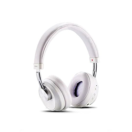 MKDMiD Wireless Bluetooth 4.1 Stereo Headphones, On Ear Noise Cancelling Headsets Support Microphone and USB Charging, 3.5MM AUX Cable for Cellphones (White)