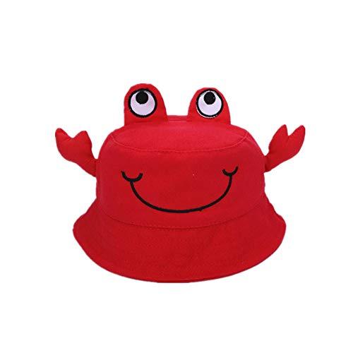 Vi.yo. Chapeau de Soleil en Coton pour bébé Baby Frog Design Toddler Kids Summer Bucket Hat Bande dessinée Garçons Filles Beach Hat (Rouge)