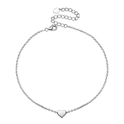 Silvora Dainty Heart S925 Anklet, Valentine's Day Collection Romance 925 Sterling Silver Heart Summer Jewelry Foot Bracelet for Women Girls