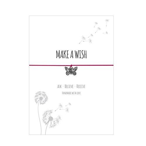 Glücksschmiedin Make a Wish - Armband mit Schmetterling Anhänger versilbert, elastischem Textilband in pink und liebevoller Karte: Ask-Believe-Receive