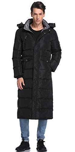 Molodo Men's Long Down Coat with Fur Hood Maxi Down Parka Puffer Jacket Black L