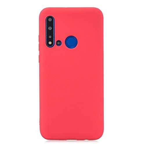 Sevenplusone Funda protectora de TPU de color sólido para Huawei P20 Lite 2019/Nova 5i (rojo) Todos los botones y puertos son accesibles. (Color: rojo)