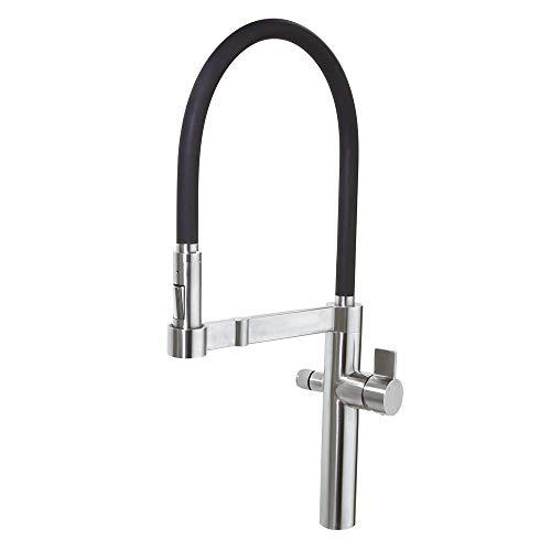 Ramon Soler 38E302693 Grifo de cocina de acero inoxidable macizo con sistema de filtrado de agua, caño extraíble y flexible de silicona negra, Cromo