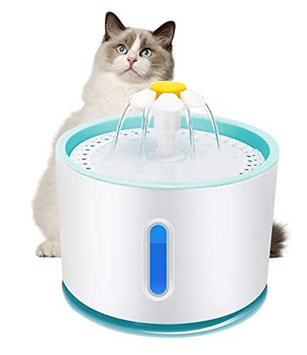 Fuente para Gatos 2.4L, Ultra silenciosa con Ventana de Nivel de Agua y LED Azul, Fuente Estilo Flor en Cascada para Gatos. Saludable e higiénica con 1 Filtro de carbón
