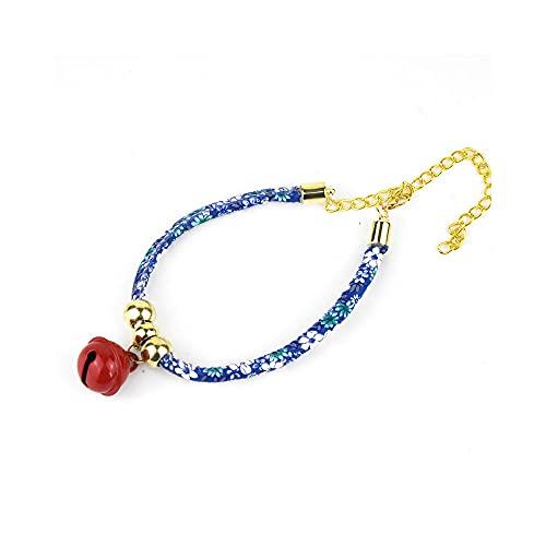 LLIU Collares de gato con campana, ajustables pequeños collares de gatito, collar japonés hecho a mano, collar de piel sintética tejida a mano para gato, perro, ajustable de 20 a 40 cm