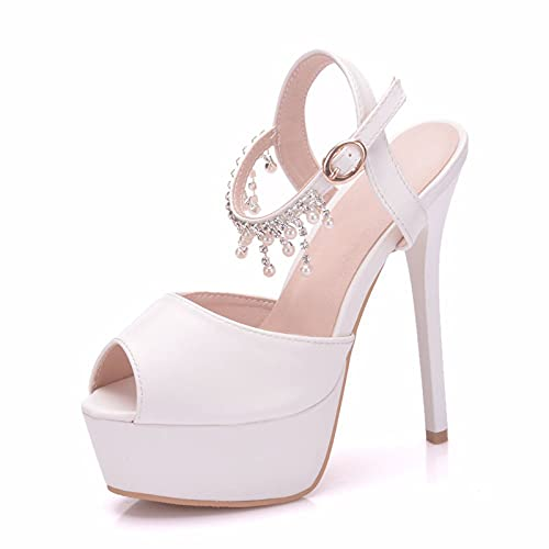 Zapatos De Novia para Mujer, Zapatos De Boda, 14Cm, Correa con Hebilla...