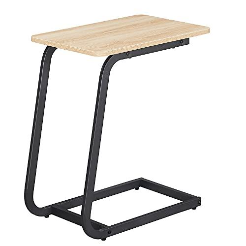 Acaza Table dAppoint, Bout de Canapé ou Lit, 50x62x35 cm, Chêne Clair