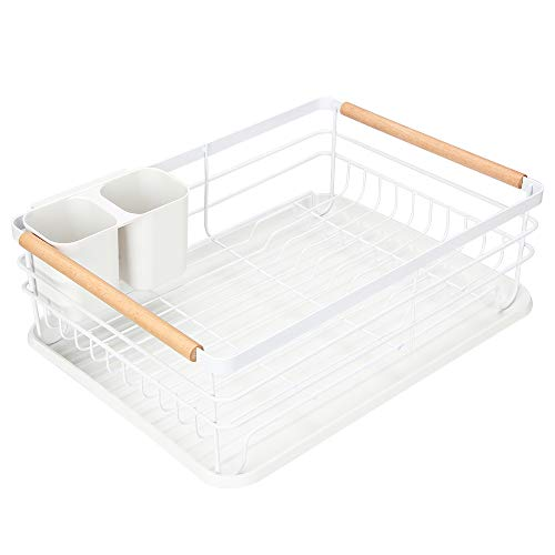 Modern Wood Handle Dish Rack and Drain Board, Attom Tech Home 16.5' x 12' x 5.5' Kitchen Plate Cup Dish Drying Rack Tray Cutlery Dish Drainer