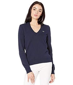 Lacoste Women s Long Sleeve V-Neck Cotton Sweater Navy Blue/Green 8