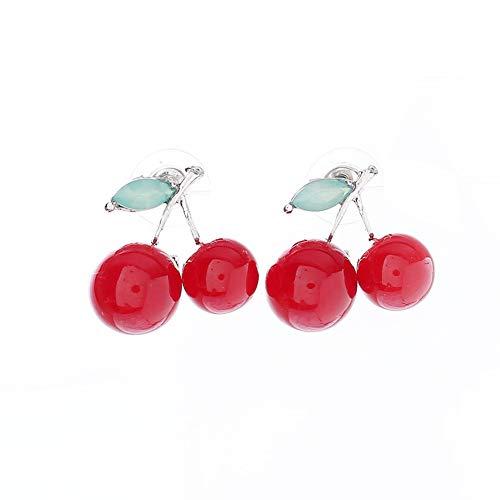 Zoete Rode Kersen Oorbel Groen Strass Blad Vruchten Kersen Stud Oorbellen Piercing Cerise Post Studs
