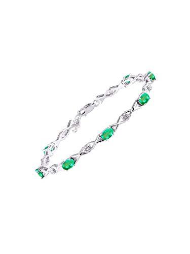 Impresionante pulsera de tenis de esmeralda y diamante XOXO Hugs & Kisses en plata de ley –...
