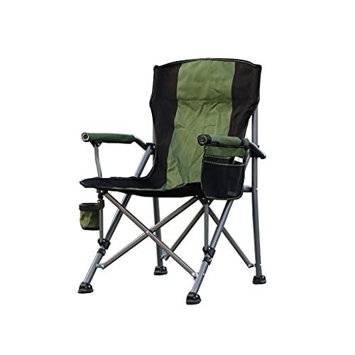 FGJKKRMI Camping Klappstuhl Heavy Duty Support 330 LBS Outdoor Mesh Rückenlehne Stuhl mit Getränkehalter Lendenwirbel Rückenlehne Tragbar für Outdoor (grün)
