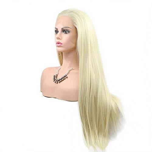 Perruque blonde 613 # 55,9 cm - Pour femme - Utilisation quotidienne - Blond pastel - Perruque de remplacement Drag Queen