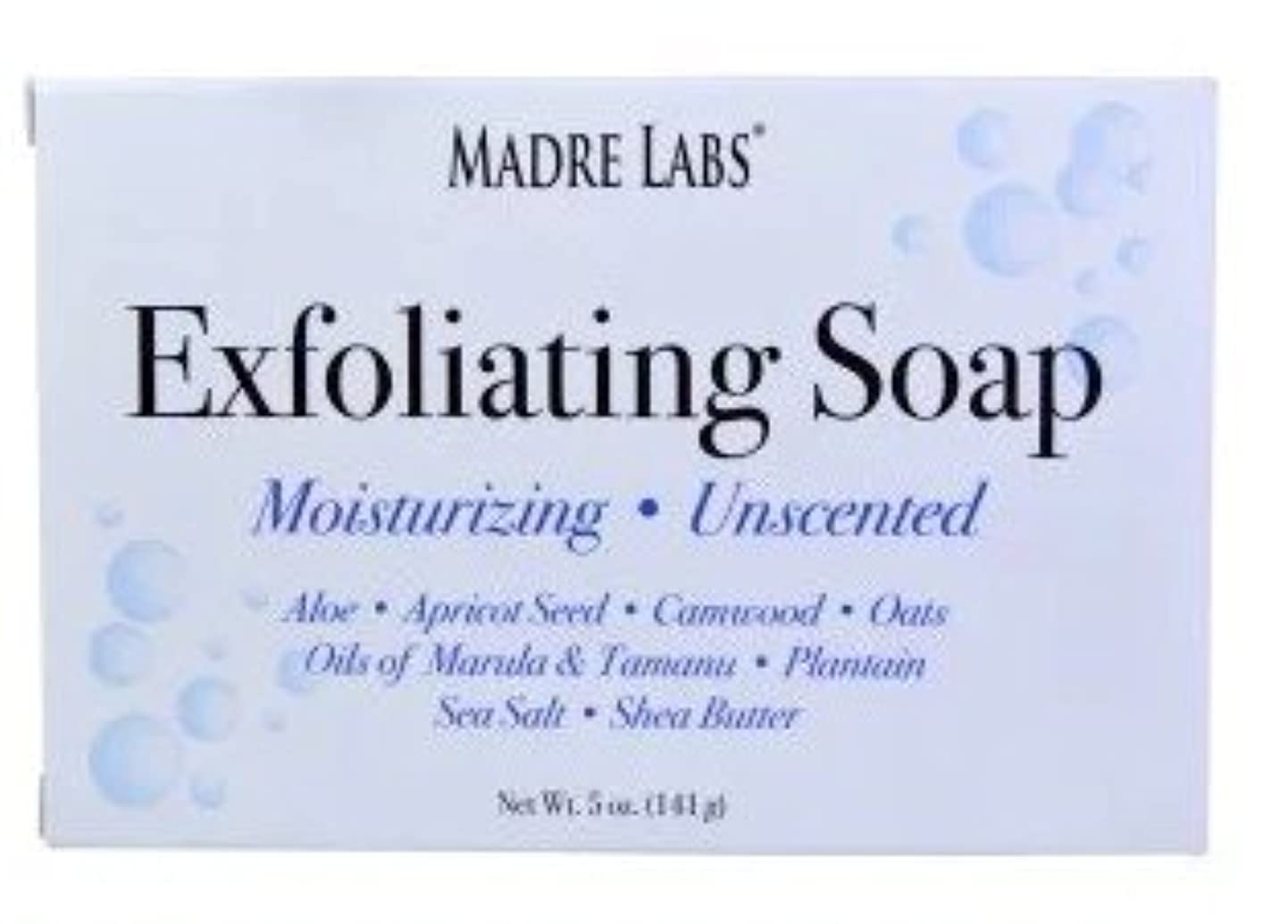 狼改善危険マドレラブ シアバター入り石鹸 Madre Labs Exfoliating Soap Bar with Marula & Tamanu Oils plus Shea Butter [並行輸入品]