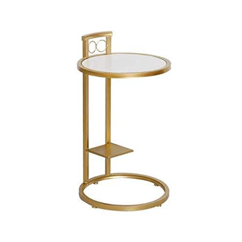 Mesa de Centro Café Mesa Auxiliar Mesas auxiliares mesa auxiliar de hierro forjado de madera maciza de oro mesa de té redondo Pequeña, simple Ocio Mesa de la sala de estar Balcón lectura del sofá Tabl