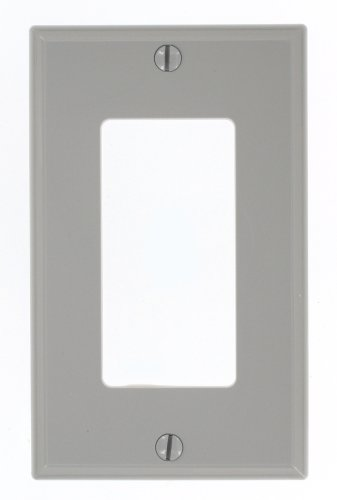 Leviton 80401-NGY 1-Gang Decora/GFCI Device Wallplate, Standard Size, Thermoplastic Nylon, Device Mount, Gray