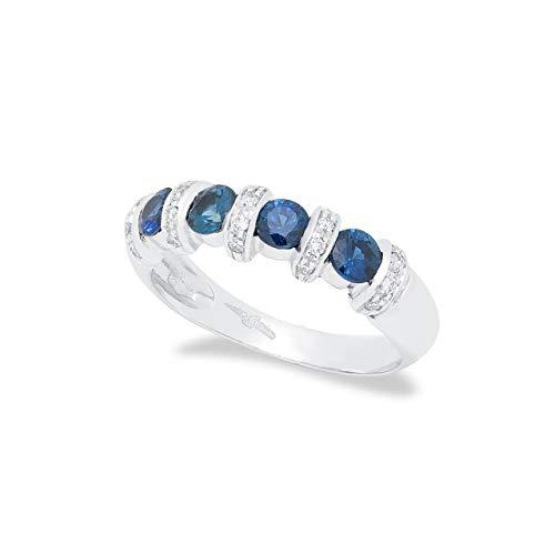 B.&C. Gioielli anello donna in oro bianco 18 kt arricchito da 0,12 ct di diamanti taglio brillante F VVS e 0,73 ct di zaffiri taglio brillante
