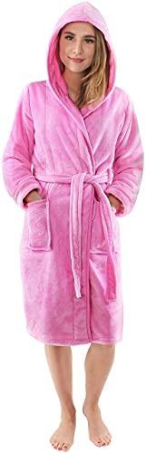 NY Threads Lujo Bata de Forro con Capucha para Mujer - Batas De Estar En Casa de Súper Suave (Rosa, Medium)